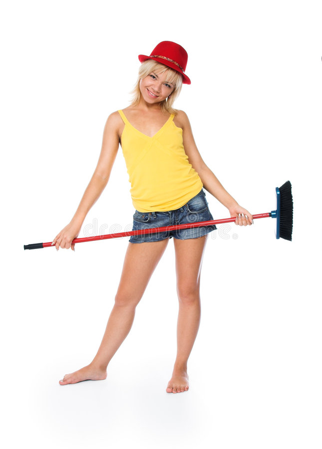 The cheerful cleaner royalty free stock photo