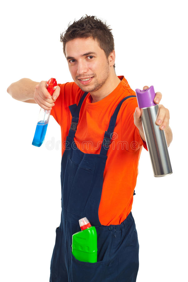Cheerful Cleaning Worker Man Stock Image