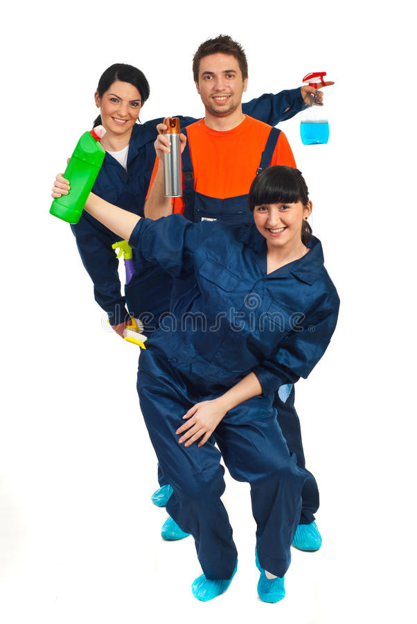 Cheerful cleaning workers teamwork stock image
