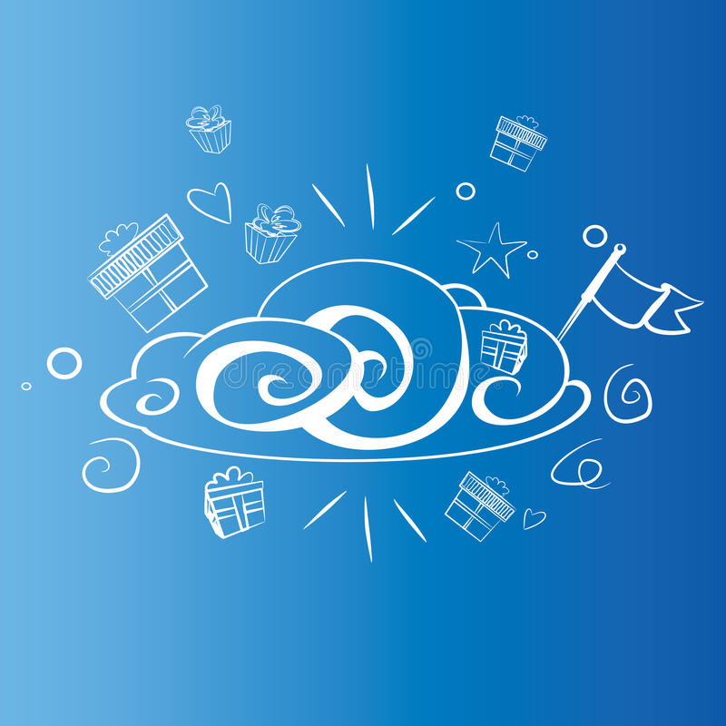 Cheerful cloud with presents and the flag royalty free stock image