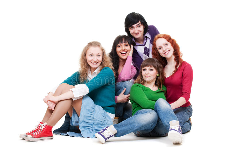 Download Cheerful Company Of Young People Stock Image - Image: 14020929