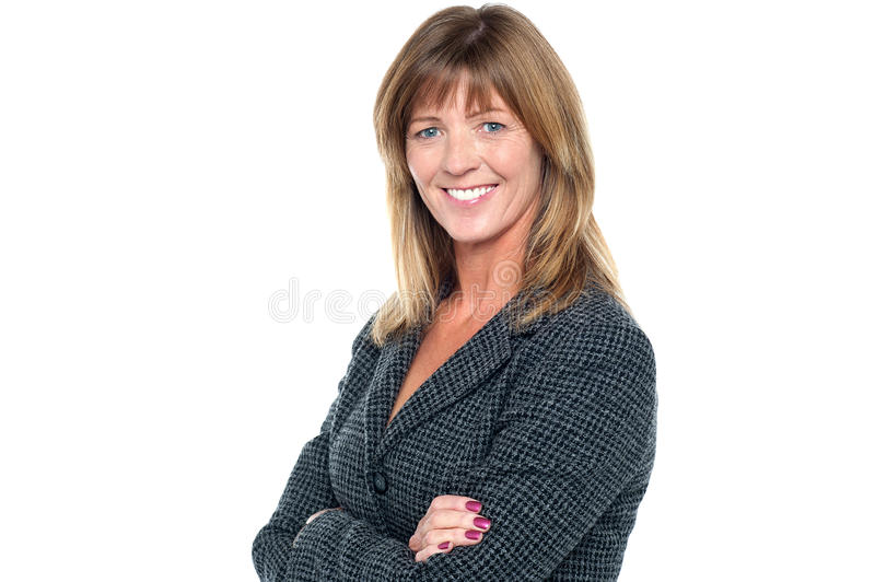 Cheerful confident middle aged business lady stock image