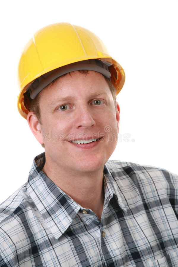 Cheerful Construction Worker Portrait Isolated