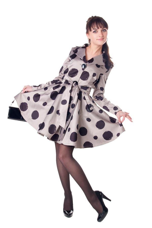 Cheerful coquette in retro style dress