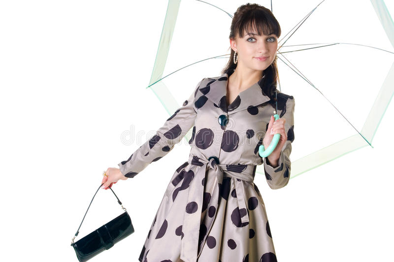 Cheerful Coquette In Retro Style Dress. Royalty Free Stock Image
