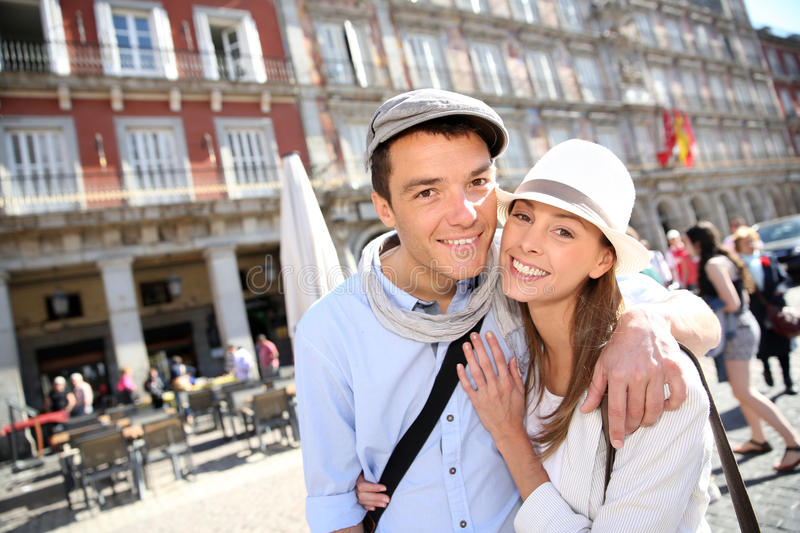 Cheerful couple in Madrid royalty free stock photo