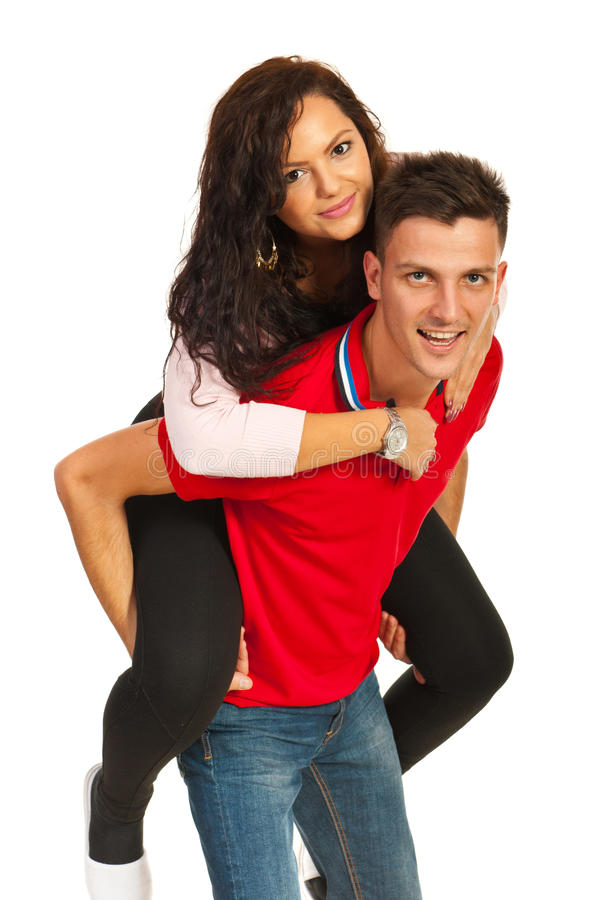 Cheerful Couple In Piggy Back Royalty Free Stock Image