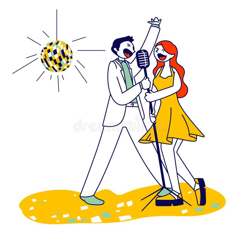 Cheerful Couple Singing Song with Microphones in Karaoke Bar or Nightclub with Stroboscope. Weekend Sparetime vector illustration