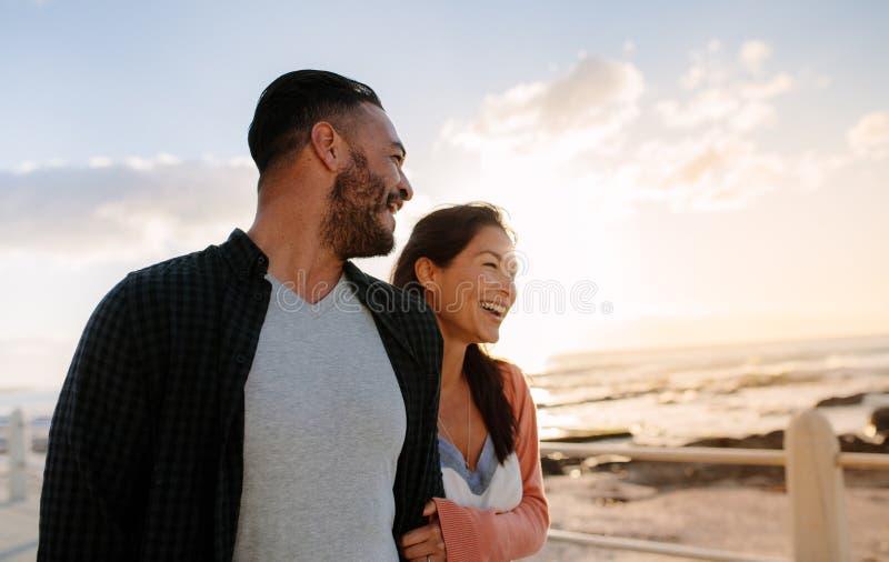 Couple on a vacation near the sea stock photos