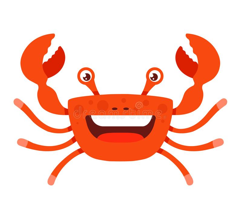 Cheerful crab with open mouth on a white background with tentacles raised upwards. royalty free illustration