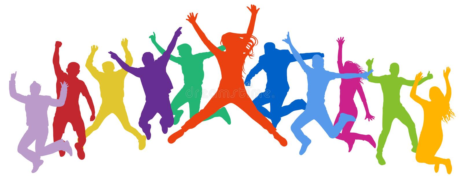 Cheerful crowd jumping people. Friends leap, bounce young teenagers, trampoline. vector illustration