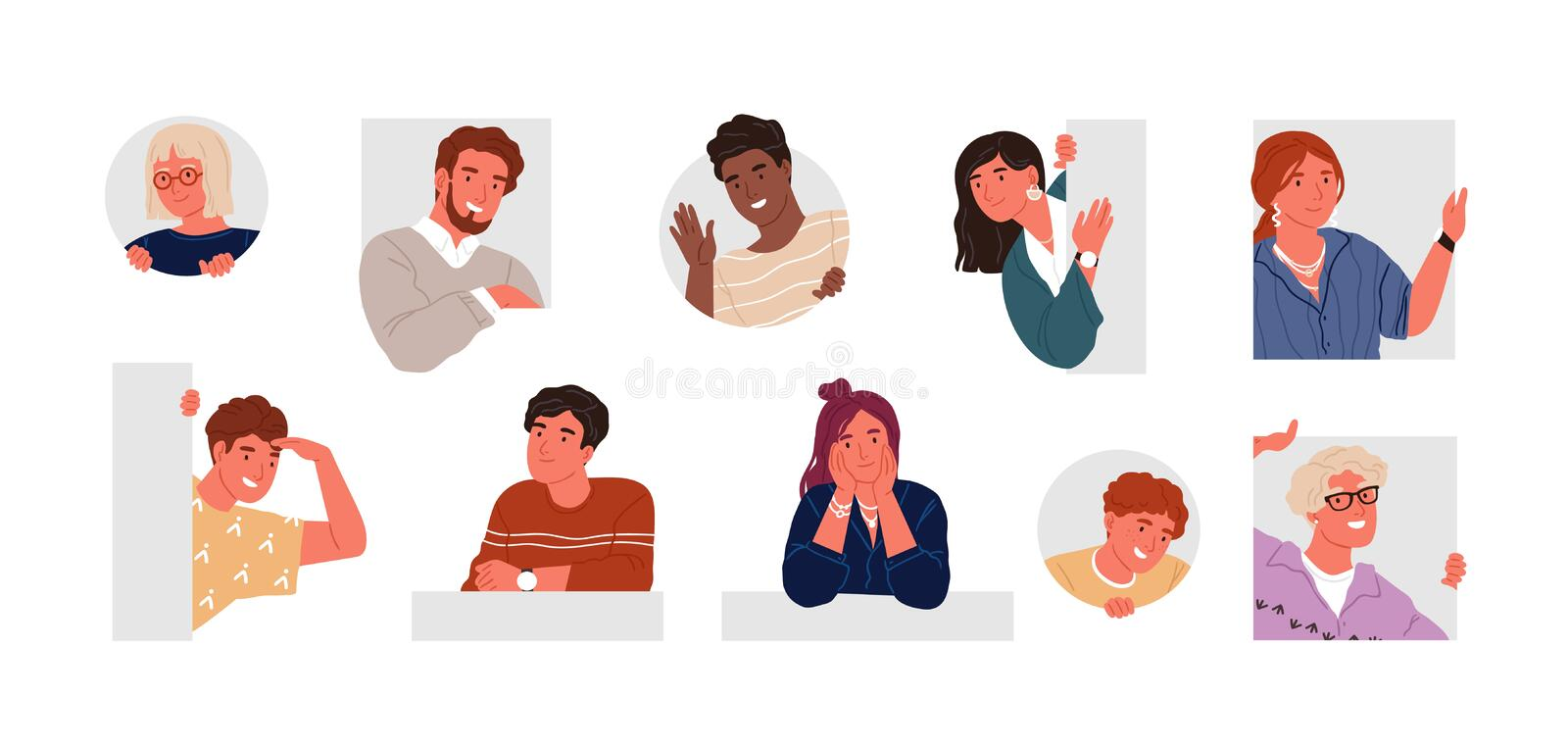 Cheerful, curious, happy people flat vector illustration set. Men and women peeping, staring, smiling cartoon characters vector illustration