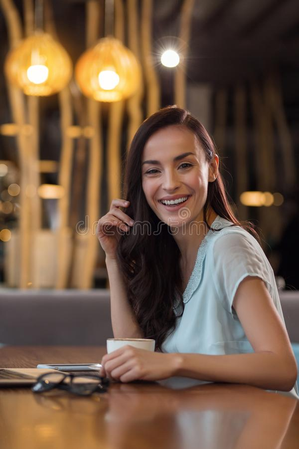 Download Cheerful Cute Woman Laughing During Coffee Break Stock Image    Image Of Elegance, Enjoyment