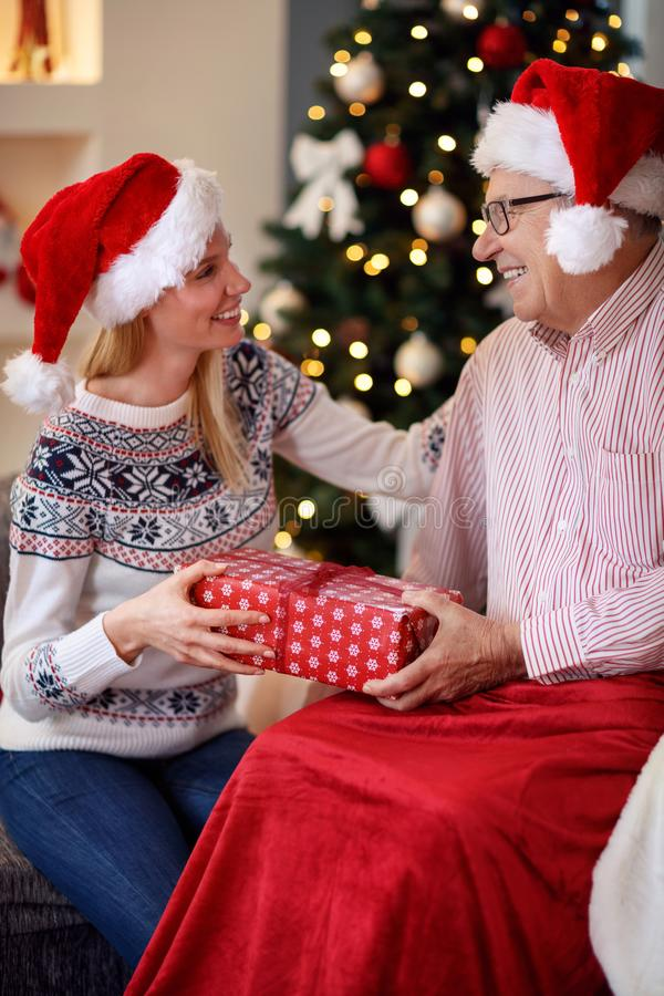Cheerful daughter spending Christmas with elderly father royalty free stock photography