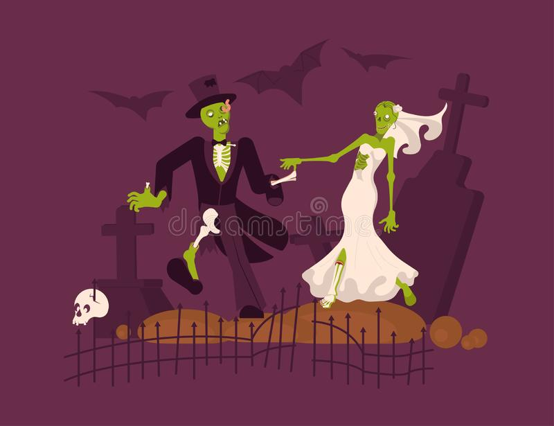 Cheerful dead bride and groom royalty free illustration