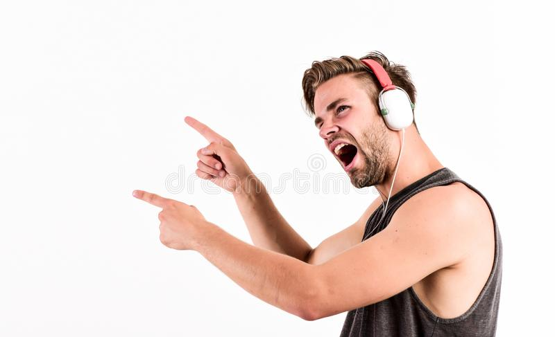 Cheerful dj full of energy. Entertainment concept. Music drives him. Dj style. Equipment for dj. Start this party. Man. Handsome dj using modern headphones royalty free stock images