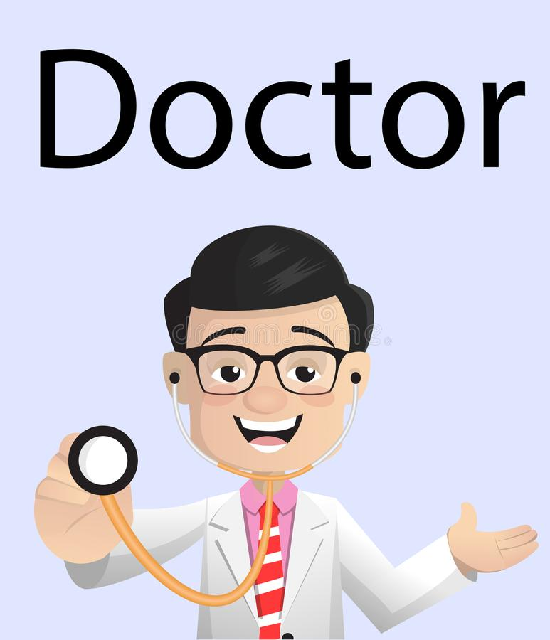 Cheerful Doctor with Stethoscope Vector. Design stock illustration