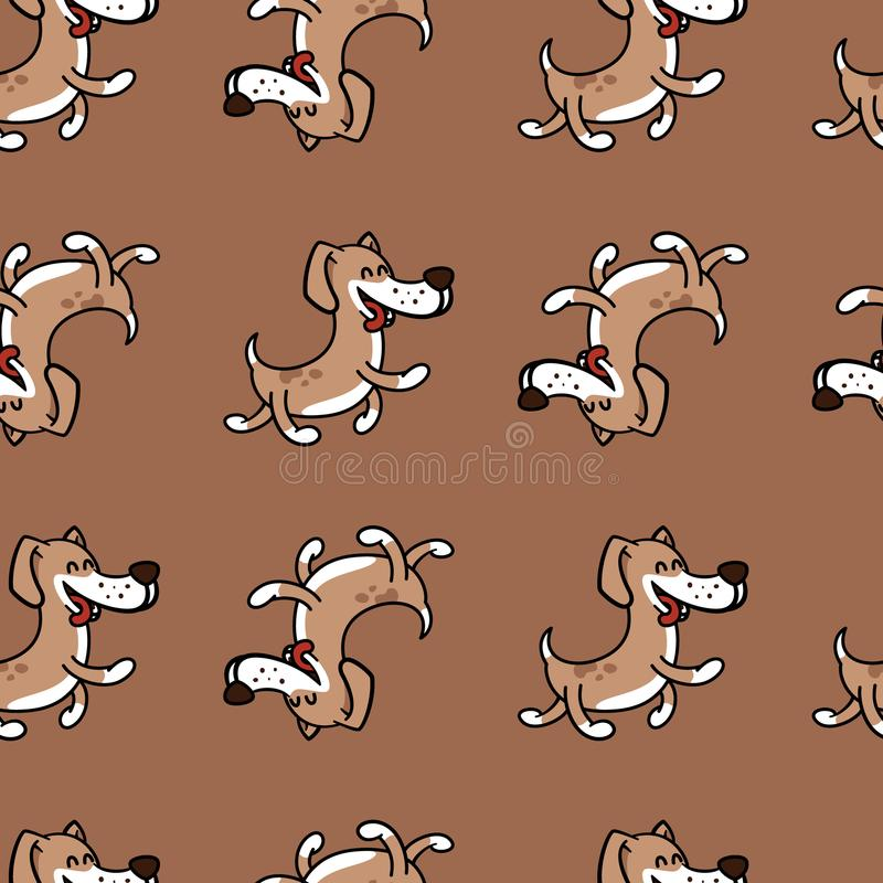 Cheerful dog jumping with happiness, texture on a children`s theme. Texture with a fun dog for children`s polygraphy, textiles royalty free illustration