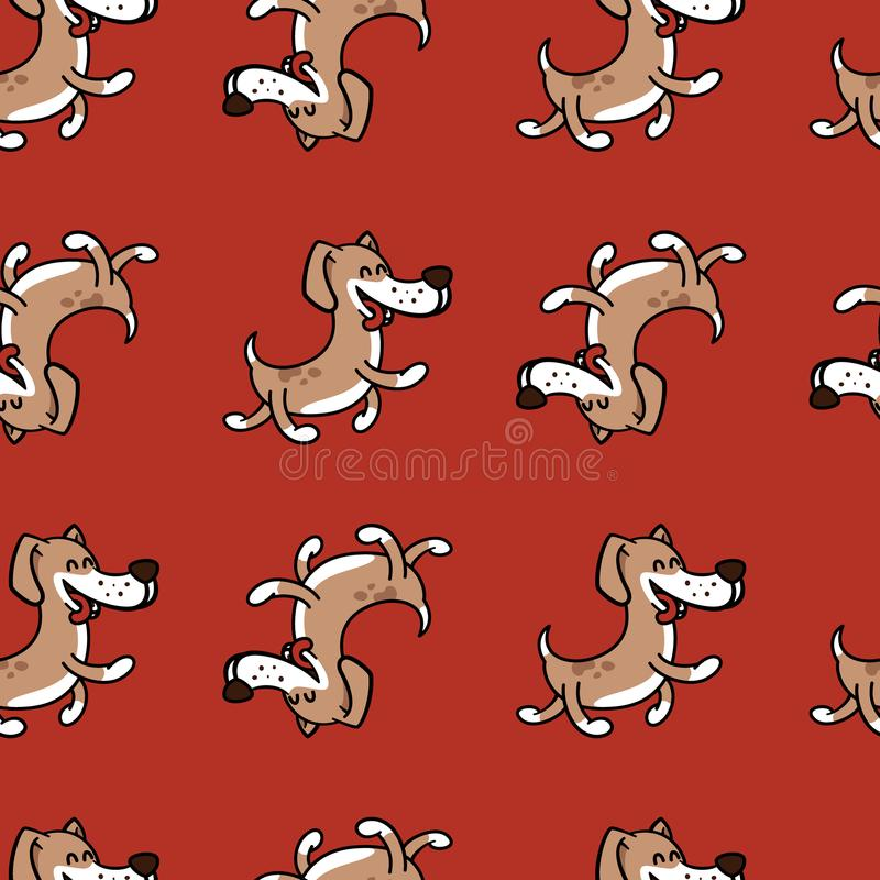 Cheerful dog jumping with happiness, texture on a children`s theme. Texture with a fun dog for children`s polygraphy, textiles stock illustration