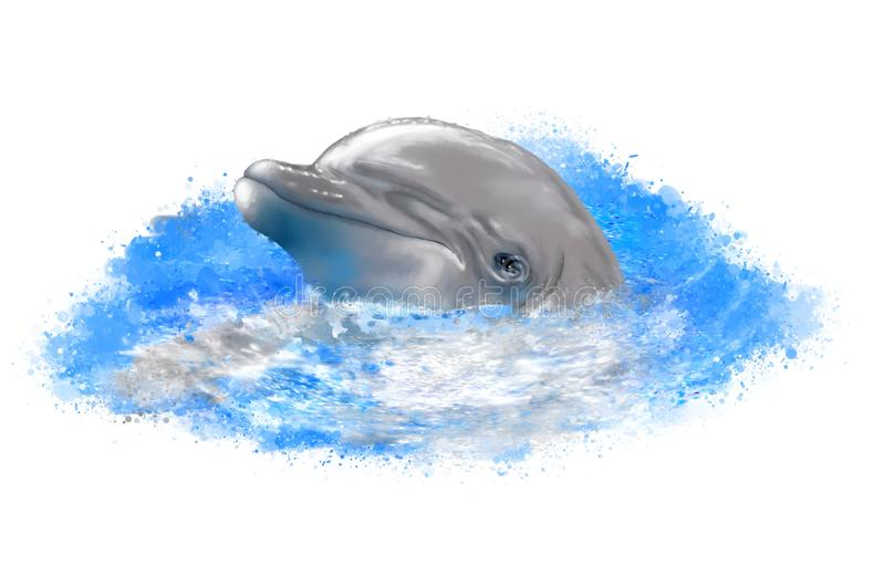 Cheerful dolphin on abstract background. royalty free stock image