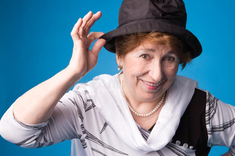 The cheerful elderly woman. royalty free stock images