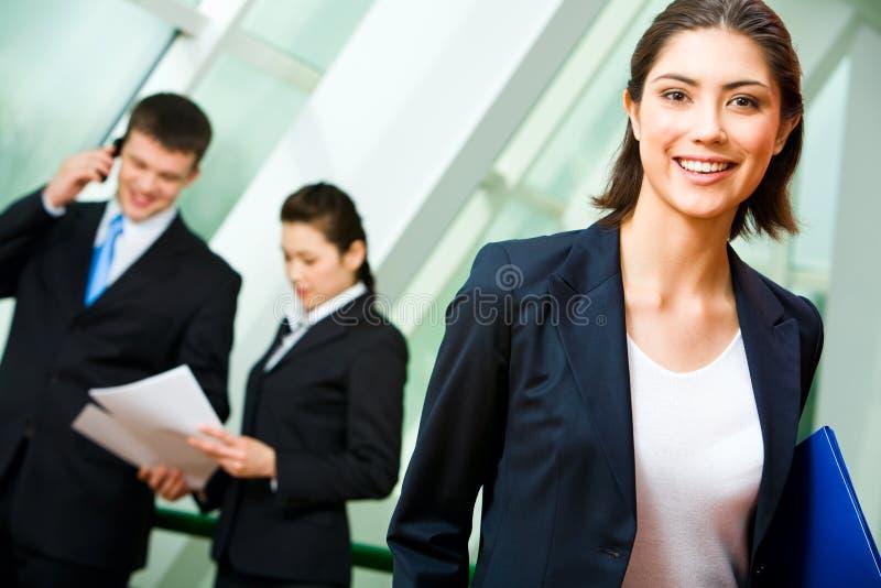 Cheerful employee stock images