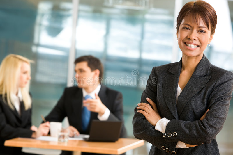Cheerful employer stock image