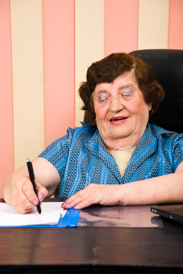Download Cheerful Executive Elderly Writting Stock Image - Image: 14861065