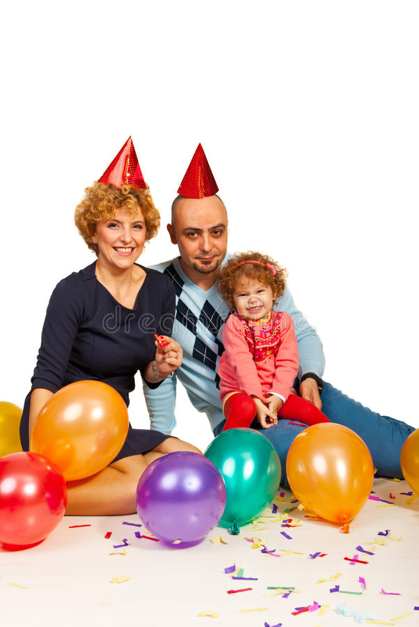Cheerful family with balloons royalty free stock photo