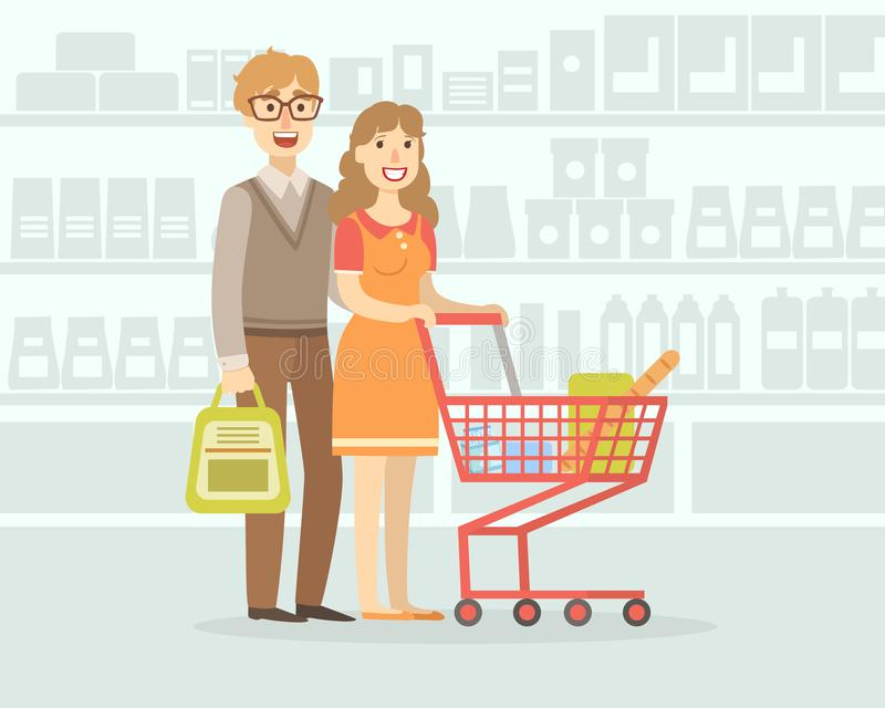 Cheerful Family Couple Shopping in Supermarket with Cart, Young Man and Woman in Grocery Store Vector Illustration royalty free illustration