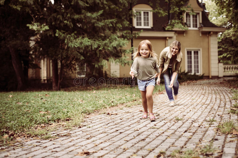 Cheerful family outdoor. royalty free stock images