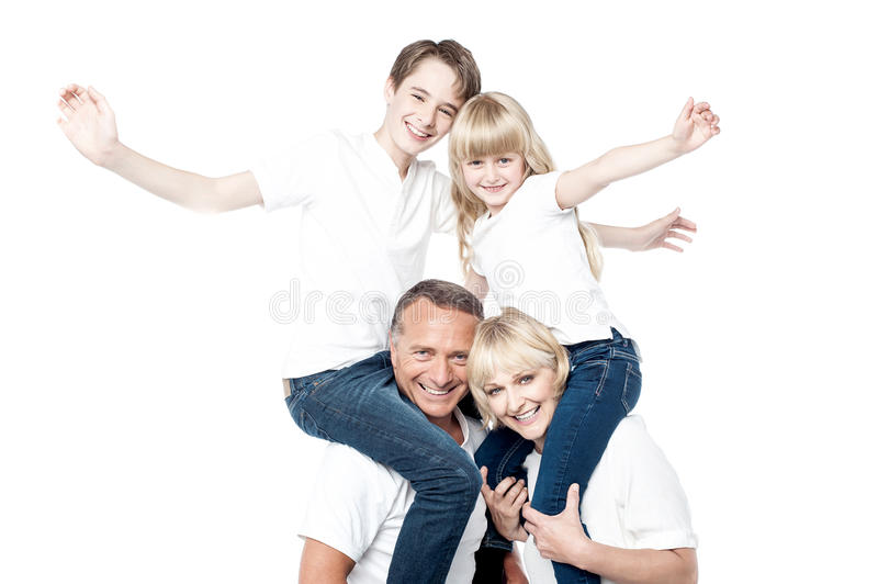 Cheerful family over white background royalty free stock photo