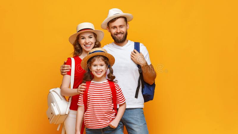 Cheerful family on summer vacation stock photo