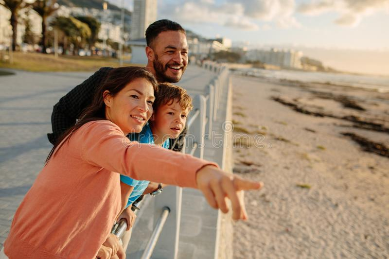Family on a day out near the sea royalty free stock photos