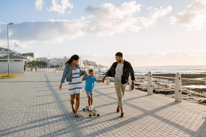 Family on a day out near the sea stock photos