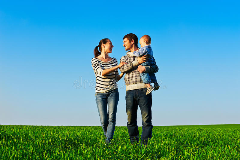 Cheerful Family Walking Stock Photography