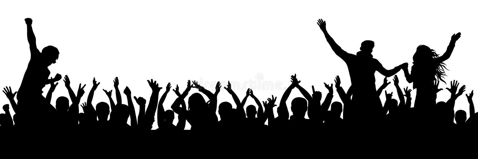 Cheerful fans party crowd. Cheering hands up applause. Crowd of people silhouette vector illustration