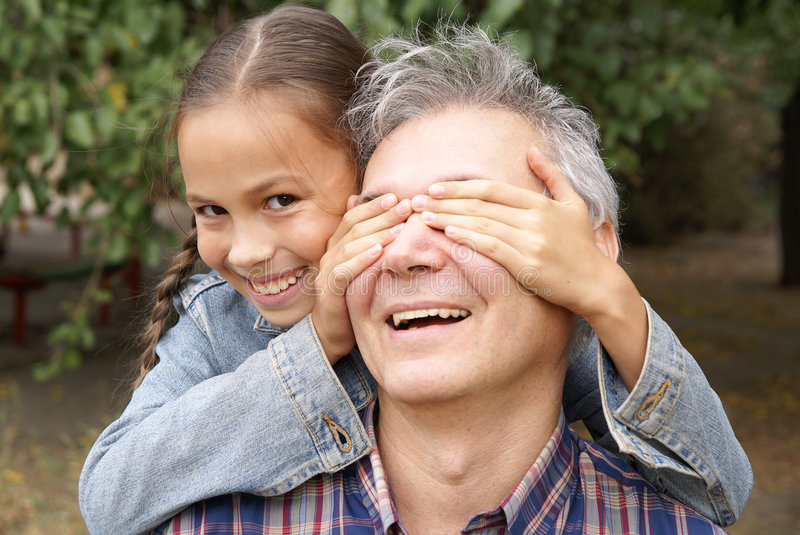 Cheerful father and daughter royalty free stock image
