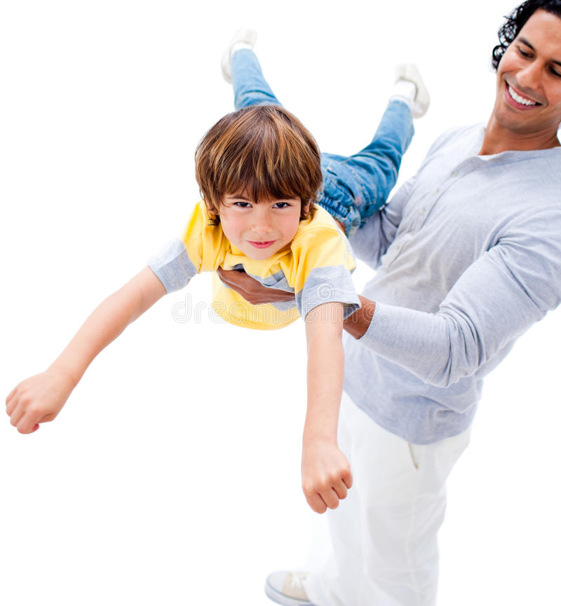 Download Cheerful Father And His Boy Playing Together Stock Image - Image of cute, child: 13153829