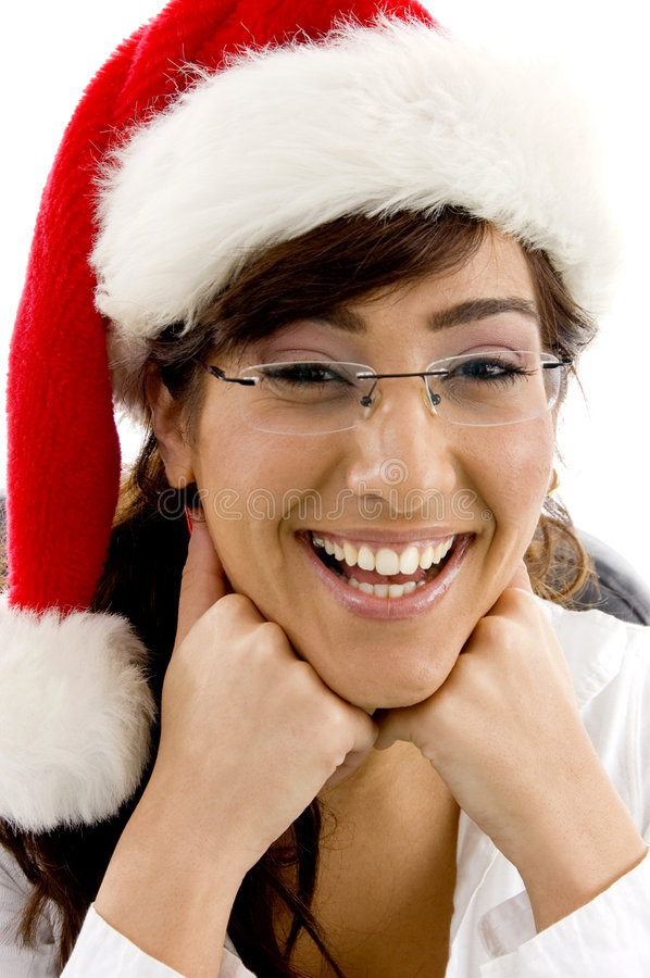 Download Cheerful Female Attorney In Christmas Hat Stock Photo - Image: 7366522