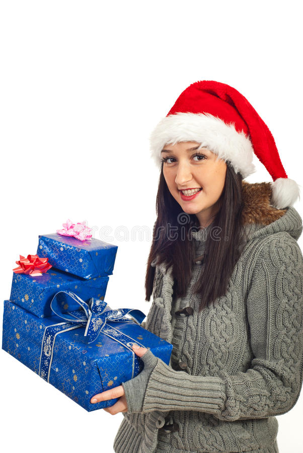 Cheerful female with blue gifts. Cheerful female holding blue Christmas gifts isolated on white background stock photos