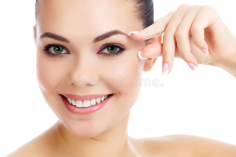 Cheerful female with fresh clear skin royalty free stock images