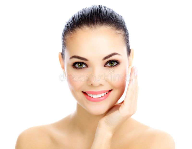 Cheerful female. With fresh clear skin, white background stock images