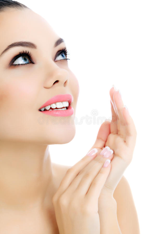 Cheerful female with fresh clear skin stock photography