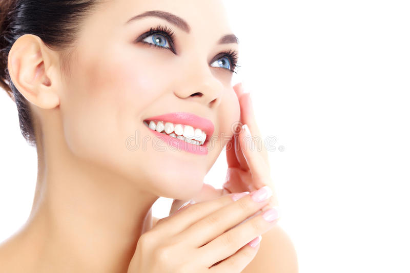 Cheerful female with fresh clear skin stock photos