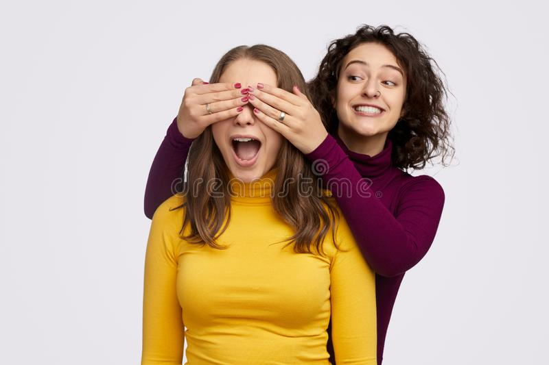 Cheerful female making surprise for best friend royalty free stock photography
