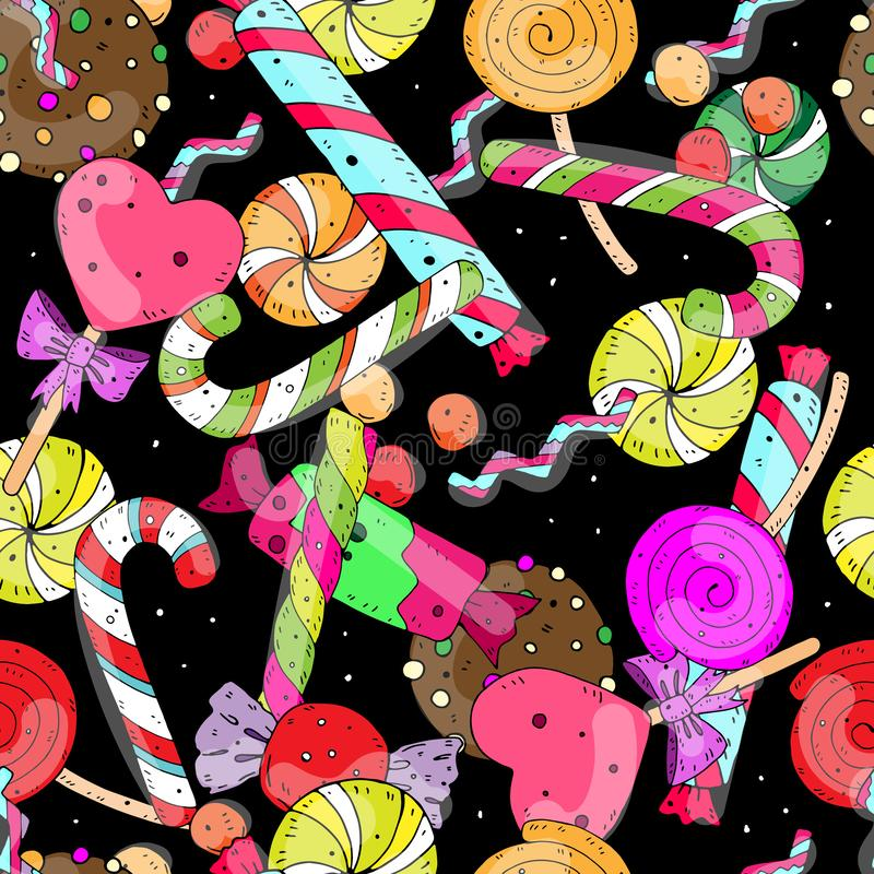 Cheerful festive vector seamless pattern with sweet color candies on a dark background. vector illustration