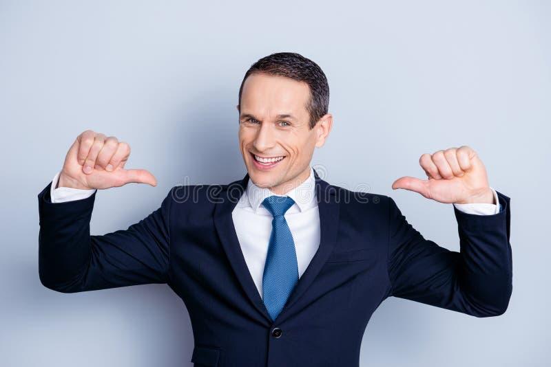Cheerful financier, positive economist, confident politic man in royalty free stock photo