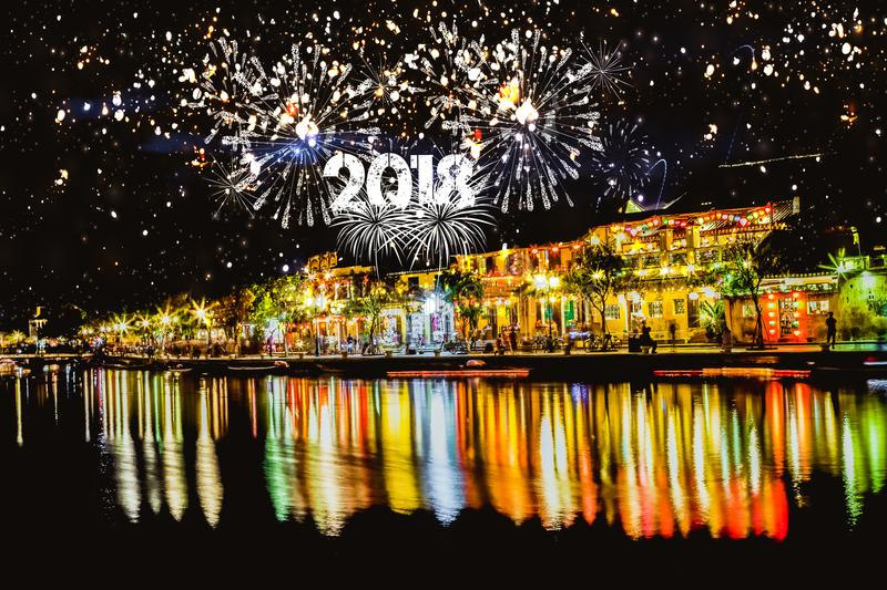 Cheerful fireworks display in city night. royalty free stock photo
