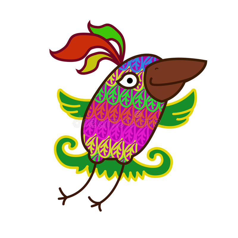 Cheerful flying colorful bird stock illustration